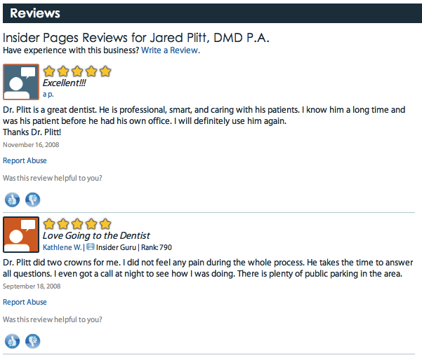 Miami Beach Dentist Dr Plitt Insider Pages Review